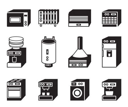 Household appliances icon set - vector illustration Vector