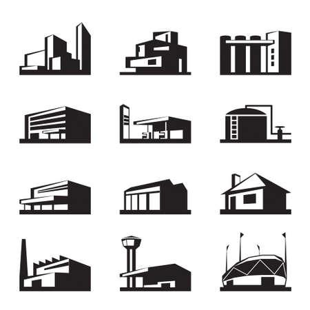 edificios: Varios tipos de construcci�n - ilustraci�n