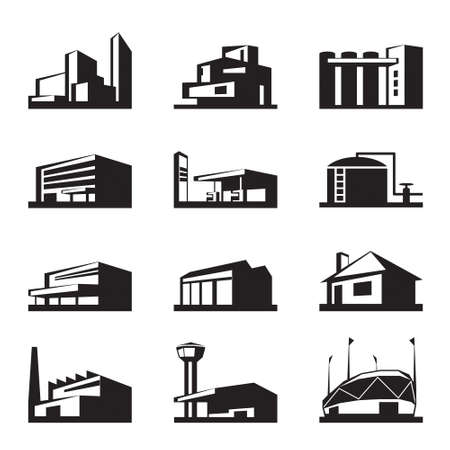 warehouse storage: Various types of construction -  illustration Illustration