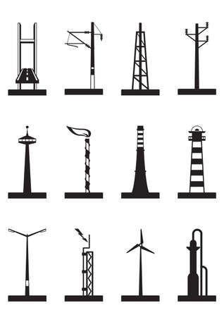 Industrial towers, poles and chimneys Stock Vector - 21504360