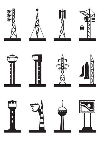 transmitter: Industrial towers and poles Illustration