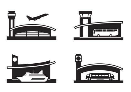 Stations of public transport illustration