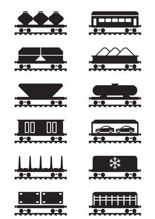 Different types of railway wagons - vector illustration Векторная Иллюстрация