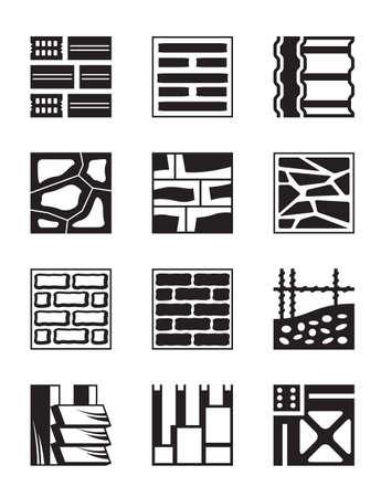 szigetelés: Különböző építőanyagok - vektoros illusztráció Illusztráció