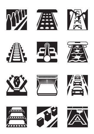 Industrial assembly lines - vector illustration Vektorové ilustrace