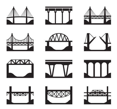 suspension bridge: Various types of bridges - vector illustration