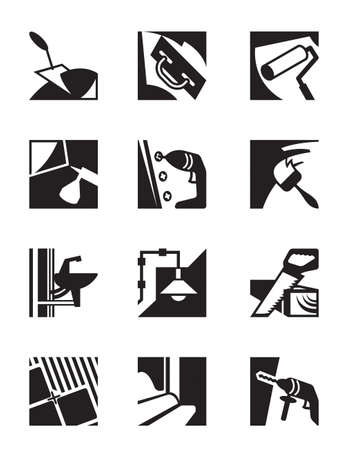 driller: Construction tools and materials - vector illustration