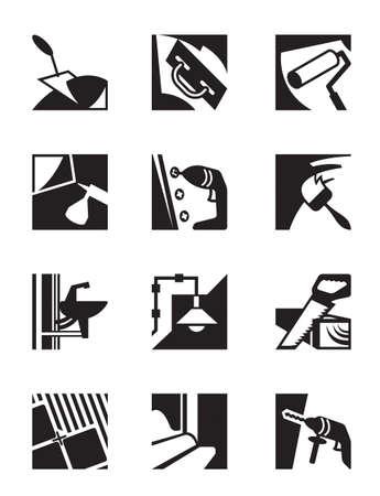 Herramientas y materiales de construcción - ilustración vectorial