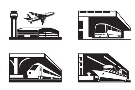 Stations of public transport in perspective Vector