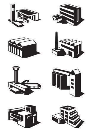 business district: Various types of construction - vector illustration
