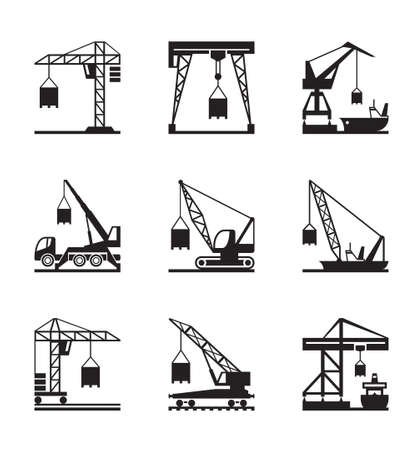 construction crane: Various types of cranes - vector illustration Illustration