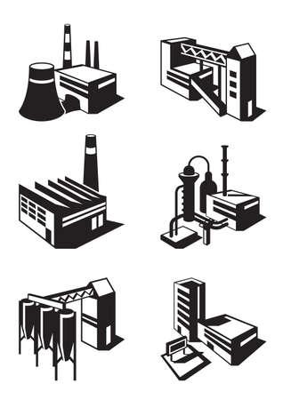 storehouse: Tipos de construcci�n industrial - ilustraci�n vectorial