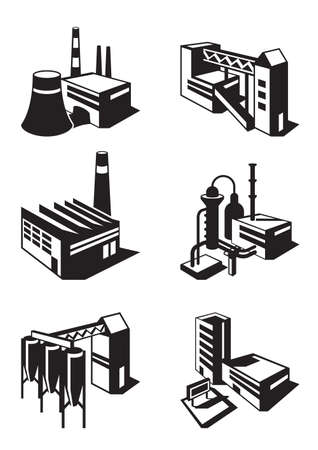warehouse building: Types of industrial construction - vector illustration