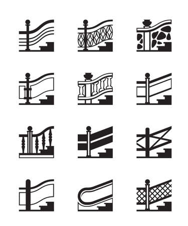metal handrail: Different types of railings - vector illustration