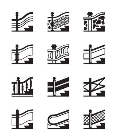 Los diferentes tipos de barandillas - ilustración vectorial