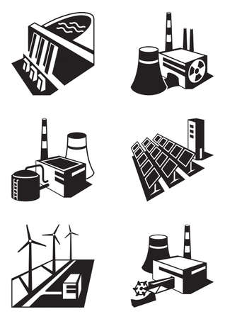 power vector: Different power plants - vector illustration