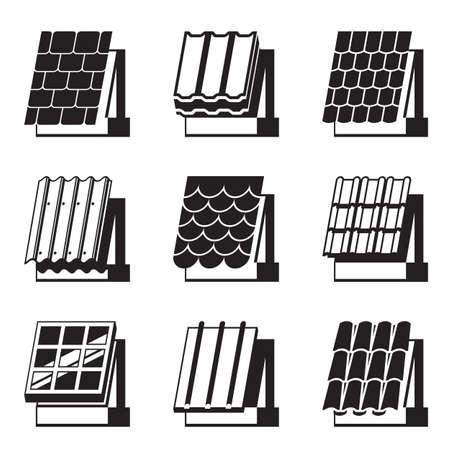 materiali edili: Materiali da costruzione per tetti - illustrazione vettoriale