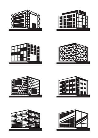 Diferentes fachadas de edificios - ilustración vectorial Foto de archivo - 24536412