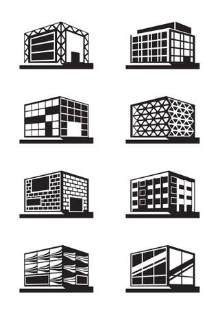 Different facades of buildings - vector illustration Çizim