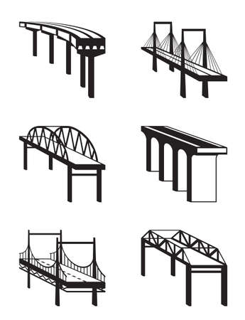 suspension bridge: Various bridges in perspective - vector illustration Illustration