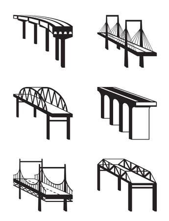 rope bridge: Various bridges in perspective - vector illustration Illustration