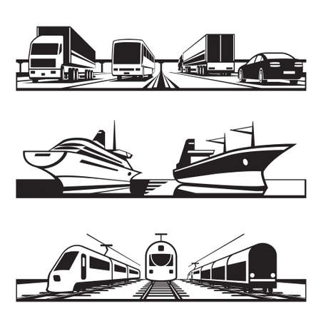 sea freight: Global transportation set - vector illustration Illustration