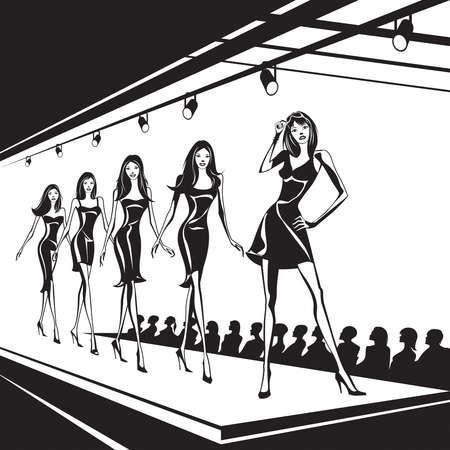 modelo en pasarela: Modelos de moda representan ropa nueva Vectores