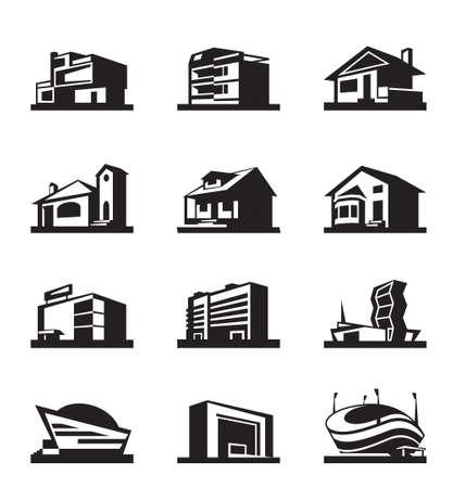 villas: Various types of construction  Illustration
