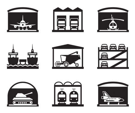 Transportation garages and warehouses Vector