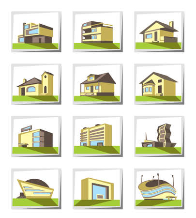 hotel hall: Various types of construction - vector illustration