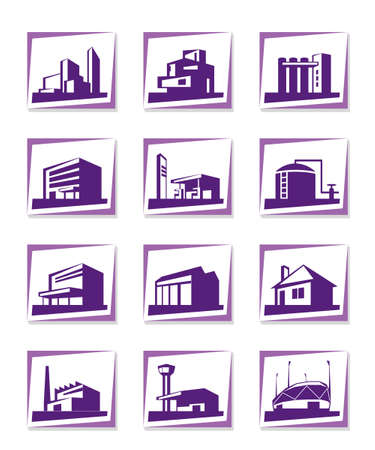 warehouse building: Different types of construction - vector illustration Illustration