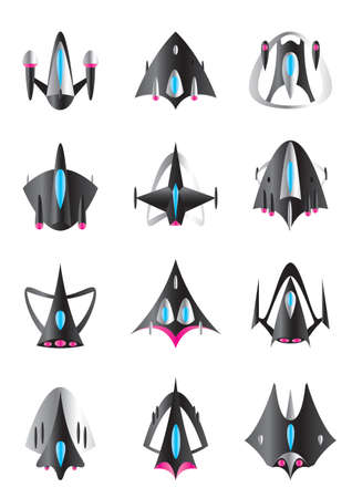 spaceport: Different spaceships in flight - vector illustration Illustration