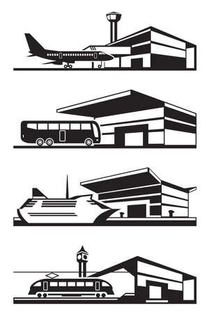 Transport stations with vehicles - vector illustration Illustration