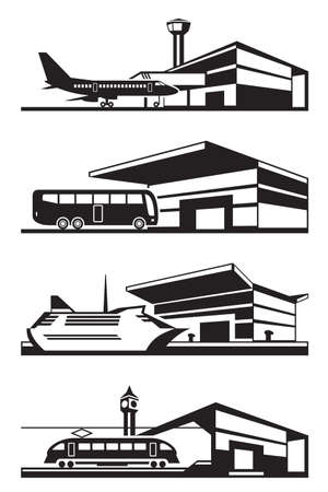 railway station: Transport stations with vehicles - vector illustration Illustration