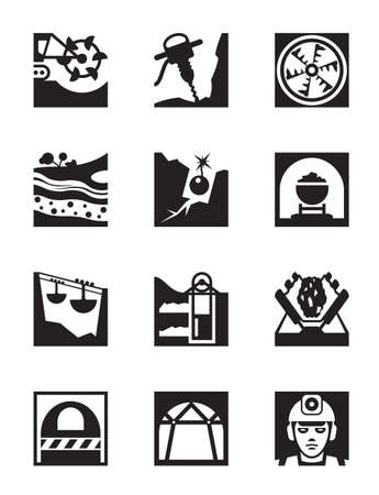 excavating machine: Mining and quarrying industry icon set