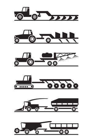 plough machine: Agricultural machinery icon set