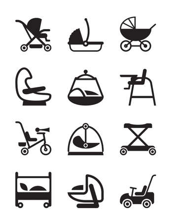 car seat: Children and baby accessories   Illustration