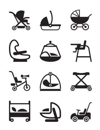 asiento coche: Los niños y los accesorios del bebé Vectores