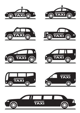 servicios publicos: Los diferentes tipos de coches de taxi - ilustración vectorial