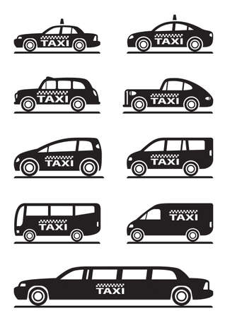Different types of taxi cars - vector illustration Stock Illustratie