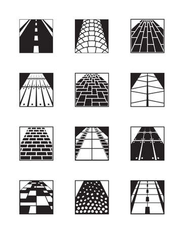brick road: Different types of road surfaces  Illustration