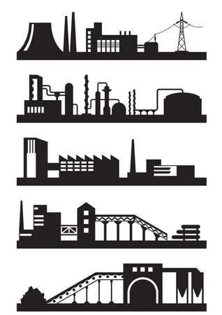 industria quimica: Varios tipos de plantas industriales - ilustración vectorial