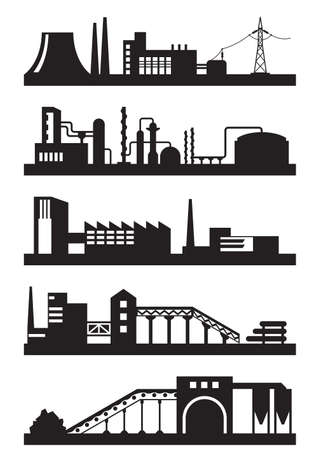 pharmaceutical industry: Various types of industrial plants - vector illustration