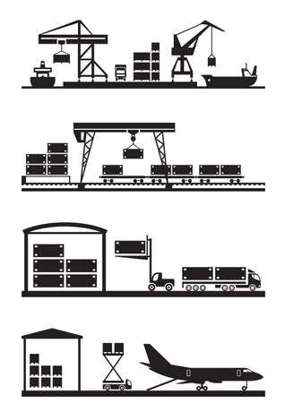 貨物ターミナルのアイコンを設定 - ベクトル イラスト