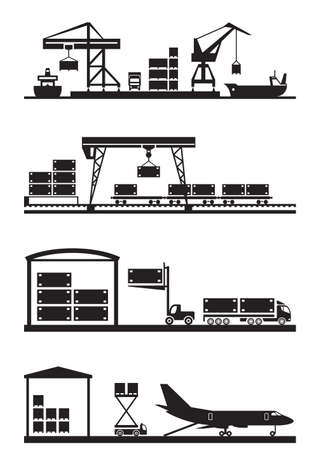 port: Cargo terminals icon set - vector illustration Illustration