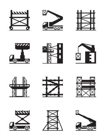 ingeniería: Andamios y grúas de construcción conjunto de iconos Vectores