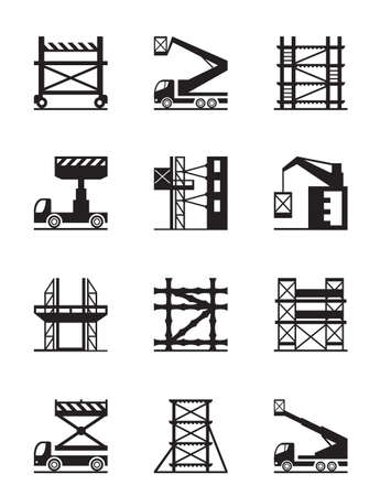 Scaffolding and construction cranes icon set Stock Illustratie