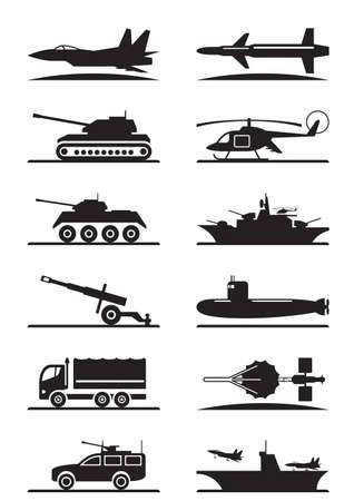 Militair materieel icon set - vector illustratie Stock Illustratie