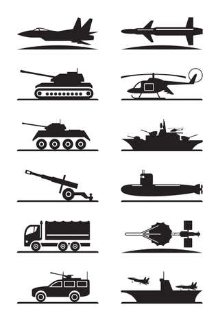 missiles: Military equipment icon set - vector illustration Illustration