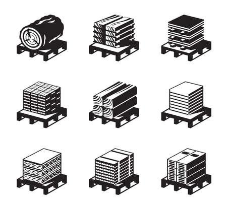 materiali edili: Materiali da costruzione di legno - illustrazione vettoriale Vettoriali